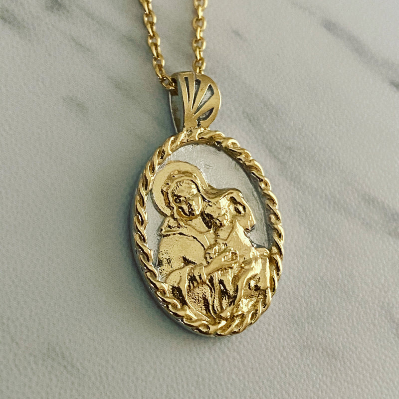 18K Gold Vermeil Thorn Frame Two Tone Virgin Mary Necklace - Divine Box