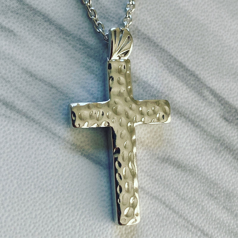 Sterling Silver Hammered Cross Necklace - Divine Box