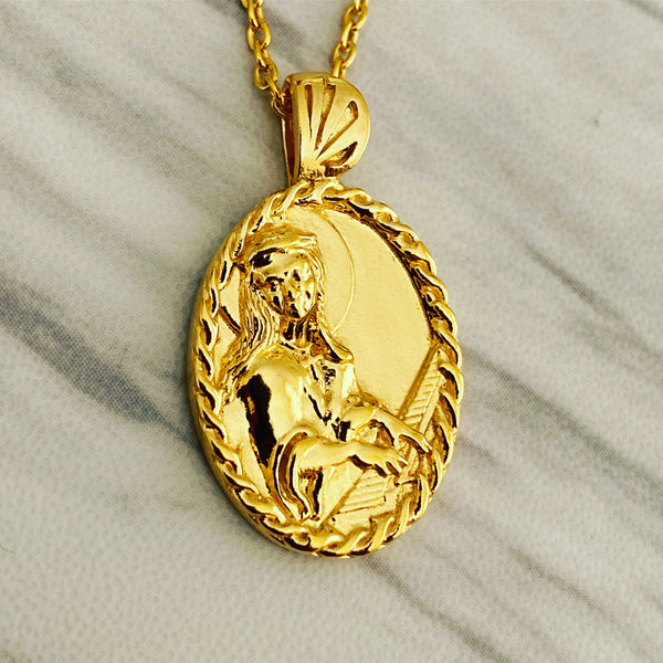 18K Gold Vermeil Thorn Frame Saint Cecilia with Piano Necklace - Divine Box