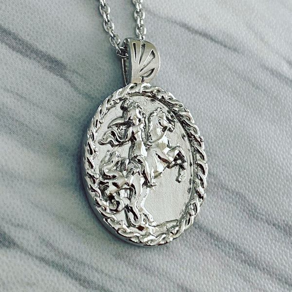 Sterling Silver Thorn Frame Saint George Necklace - Divine Box