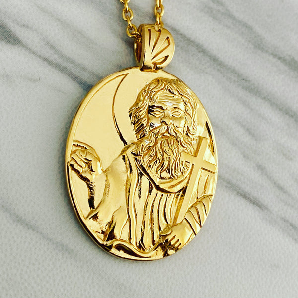 18K Gold Vermeil Saint John the Baptist Necklace - Divine Box