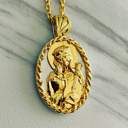 18K Gold Vermeil Thorn Framed Two Tone Saint Cecilia Necklace Guitar - Divine Box