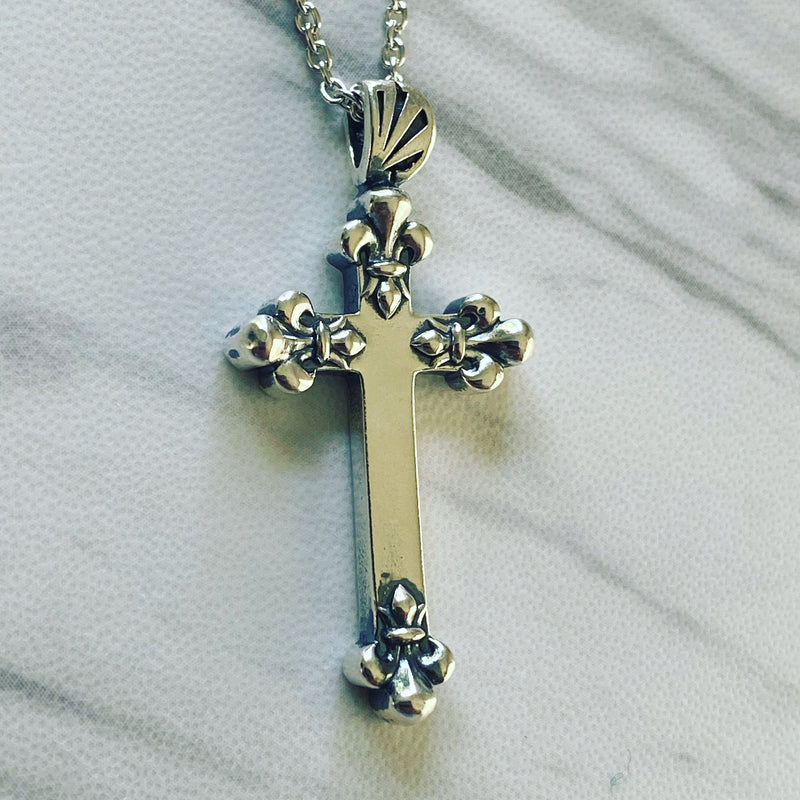 Antique Finish Sterling Silver Fleur-de-Lis Cross Necklace - Divine Box