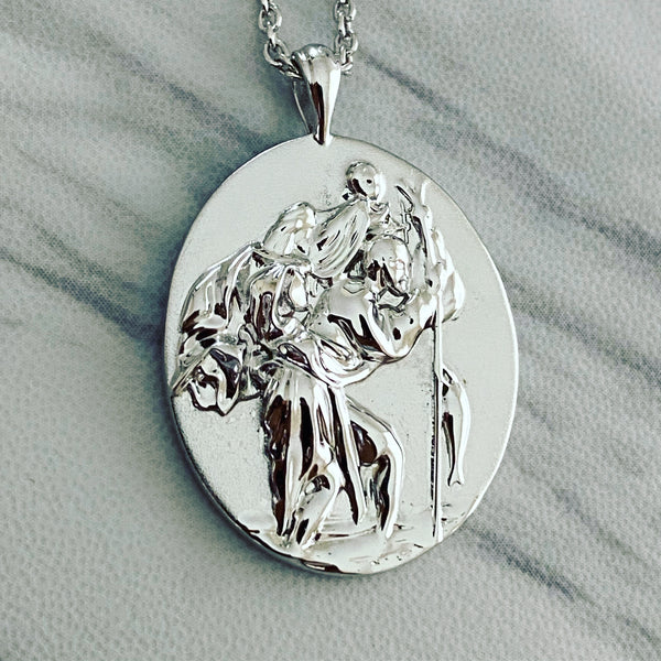 Sterling Silver Saint Christopher Oval Necklace - Divine Box