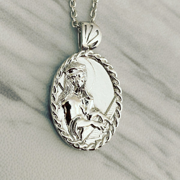 Sterling Silver Thorn Frame Saint Cecilia with Piano Necklace - Divine Box