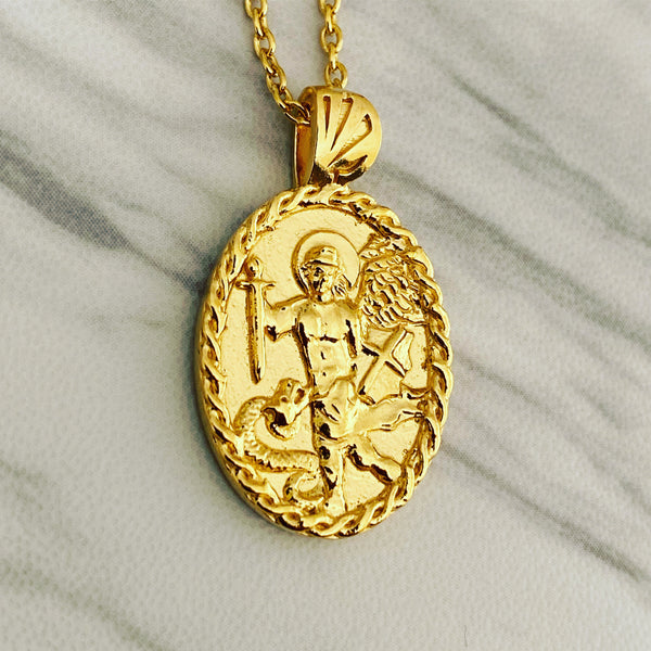 18K Gold Vermeil Thorn Frame Saint Michael Necklace - Divine Box
