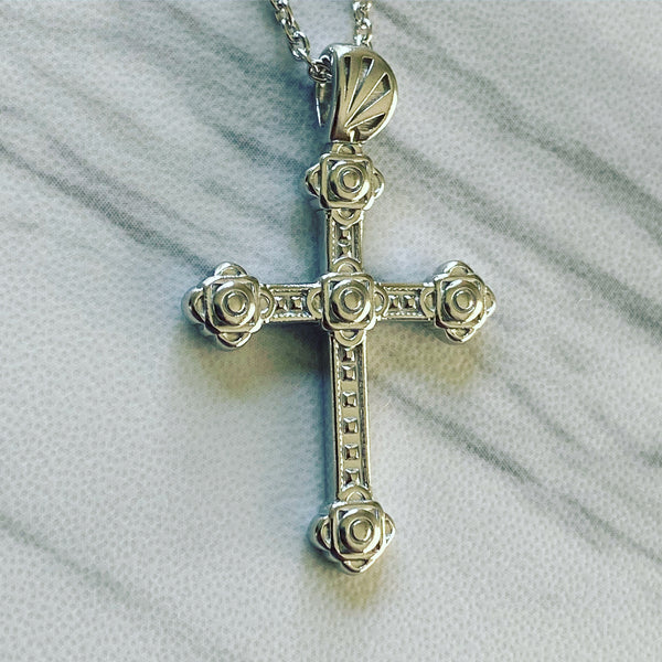 Sterling Silver Slim Gothic Cross Necklace - Divine Box