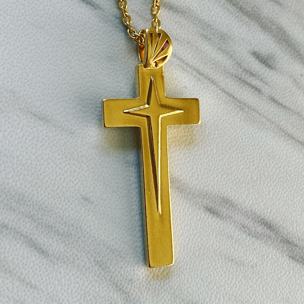 18K Gold Vermeil Star Cross Necklace - Divine Box
