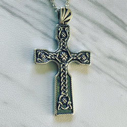 Antique Finish Sterling Silver Celtic Knot Cross Necklace - Divine Box