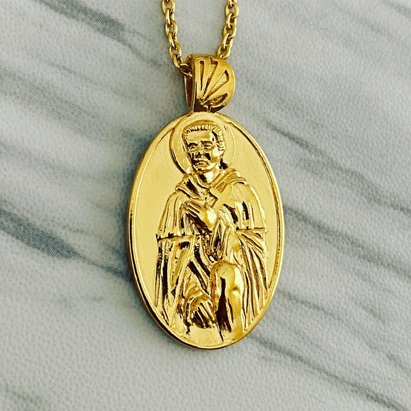 18K Gold Vermeil Saint Peregrine Necklace - Divine Box