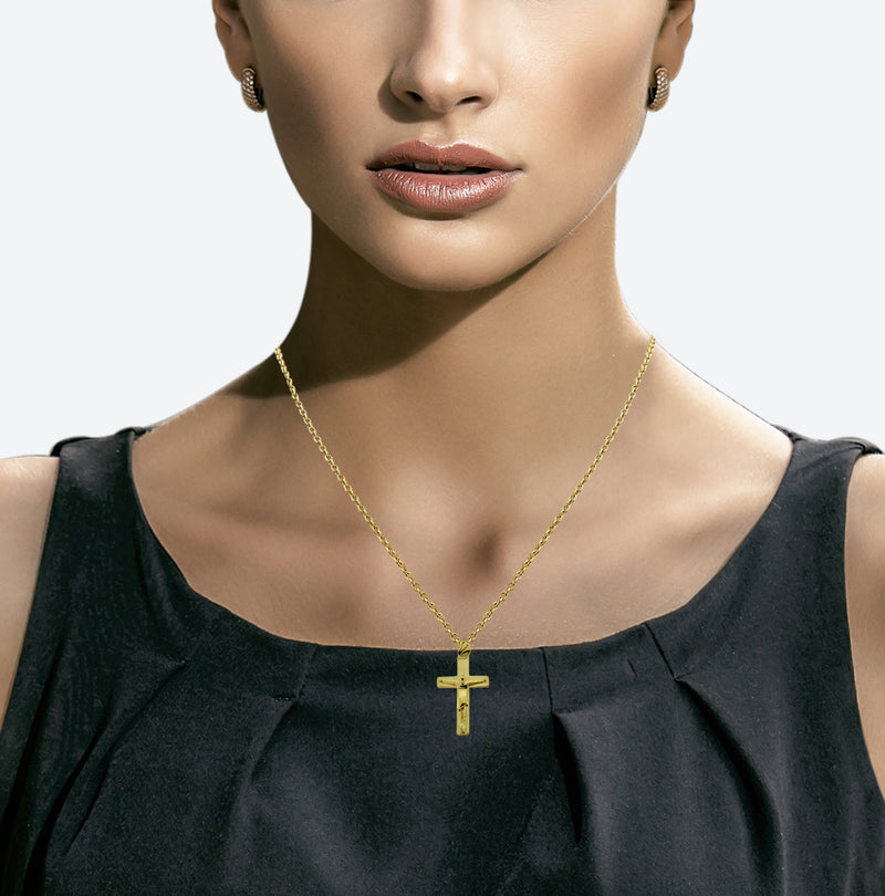 18K Gold Vermeil Modern Crucifix Necklace - Divine Box