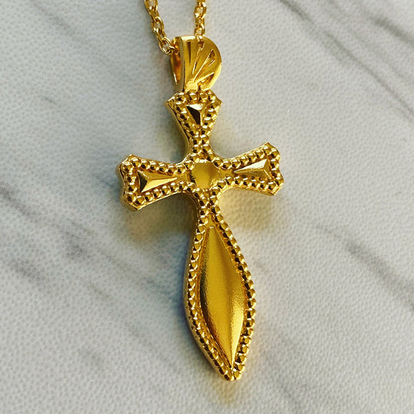 18K Gold Vermeil Milgrain Medieval Cross Necklace - Divine Box