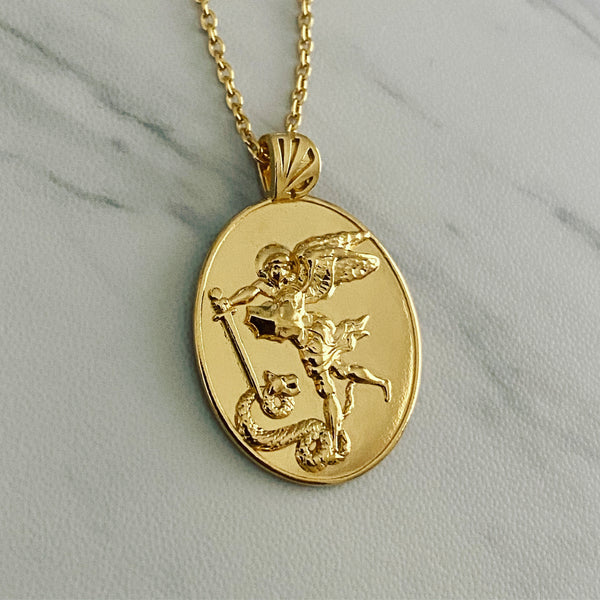 18K Gold Vermeil Saint Michael Necklace - Divine Box