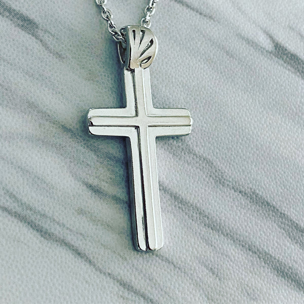 Sterling Silver Double Cross Necklace - Divine Box