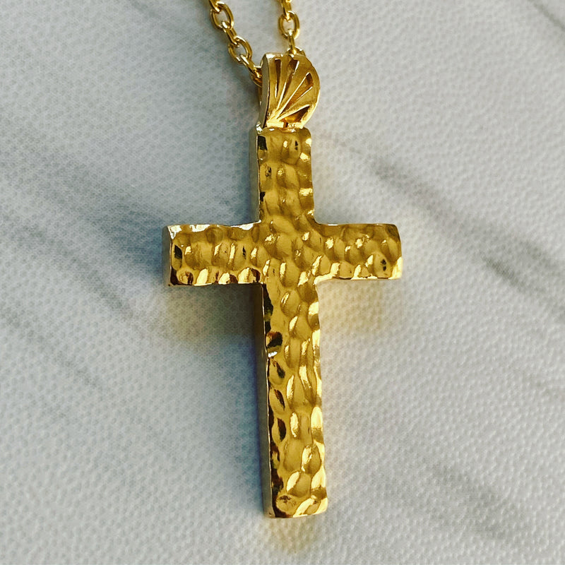 18K Gold Vermeil Hammered Cross Necklace - Divine Box
