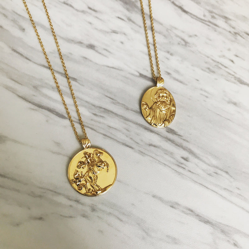18K Gold Vermeil Saint George Necklace - Divine Box