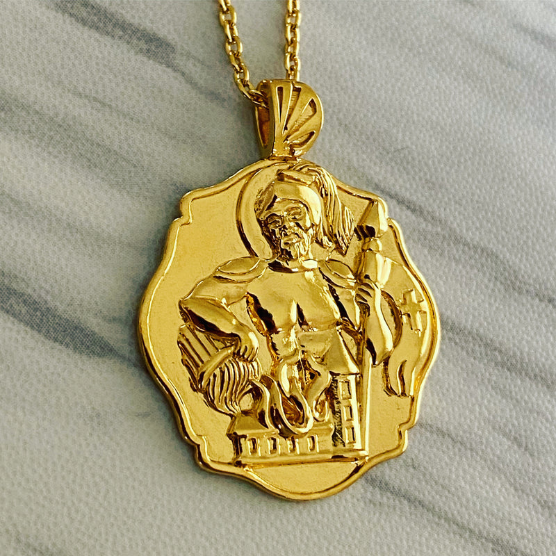 18K Gold Vermeil Saint Florian Necklace - Divine Box