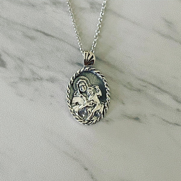 Antique Finish Sterling Silver Thorn Frame Virgin Mary Necklace - Divine Box