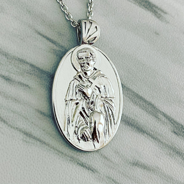 Sterling Silver Saint Peregrine Necklace - Divine Box