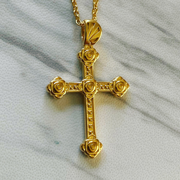 18K Gold Vermeil Slim Gothic Cross Necklace - Divine Box