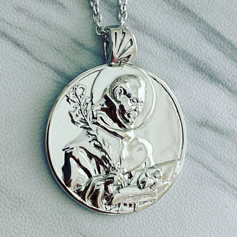 Sterling Silver Saint Anthony of Padua Necklace - Divine Box