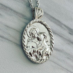 Sterling Silver Thorn Frame Virgin Mary Necklace - Divine Box