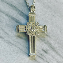 Sterling Silver Gothic Pillar Cross Necklace - Divine Box