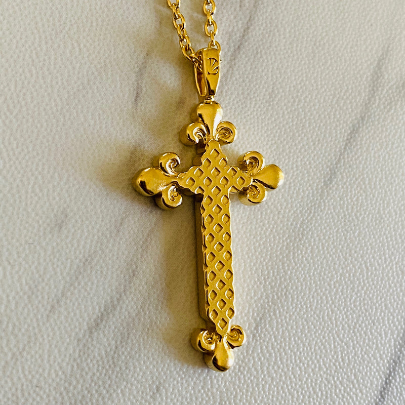 18K Gold Vermeil Eiffel Fleur-De-Lis Cross Necklace - Divine Box