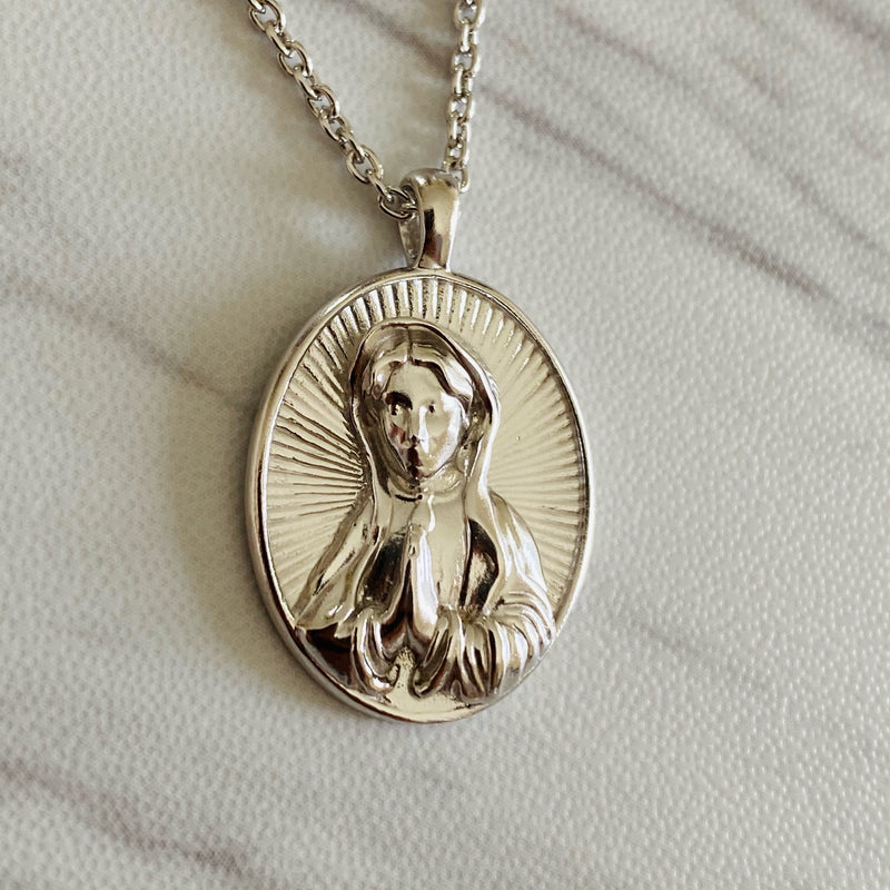 Sterling Silver Mother Mary Necklace - Divine Box