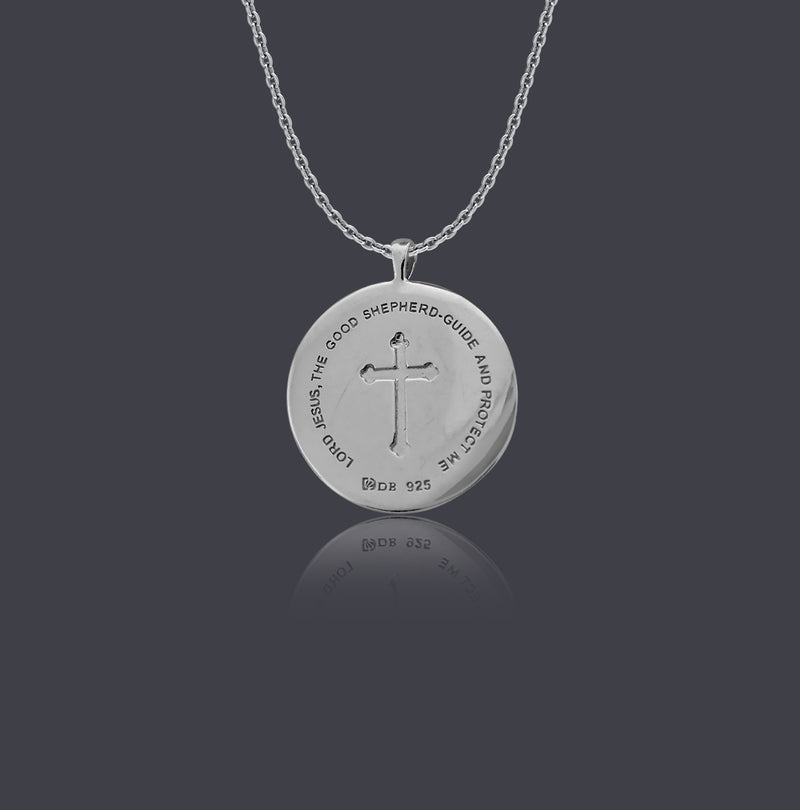 Sterling Silver Young Shepherd Christ Round Necklace - Divine Box