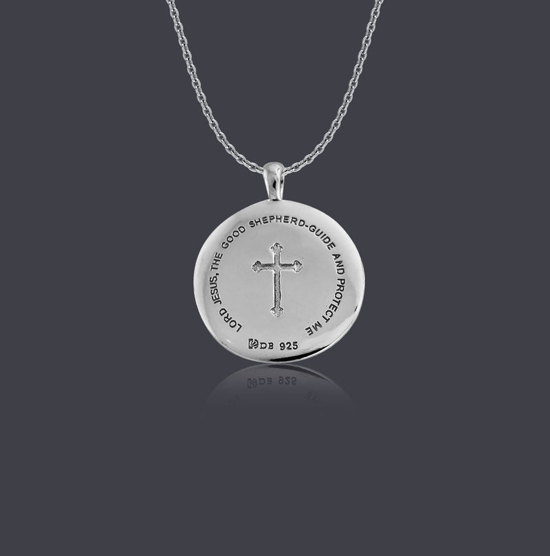 Sterling Silver Good Shepherd Christ Round Necklace - Divine Box