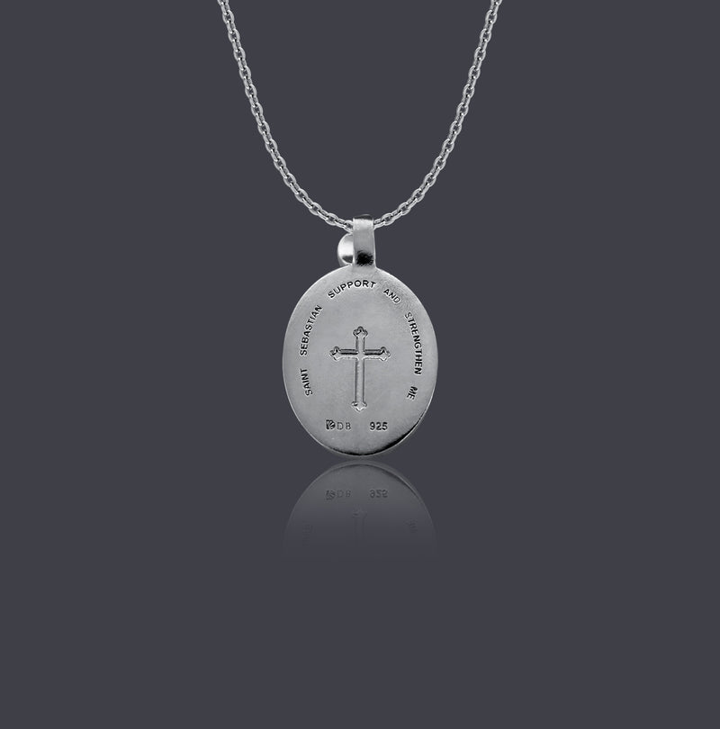 Sterling Silver Thorn Frame Saint Sebastian Necklace - Divine Box