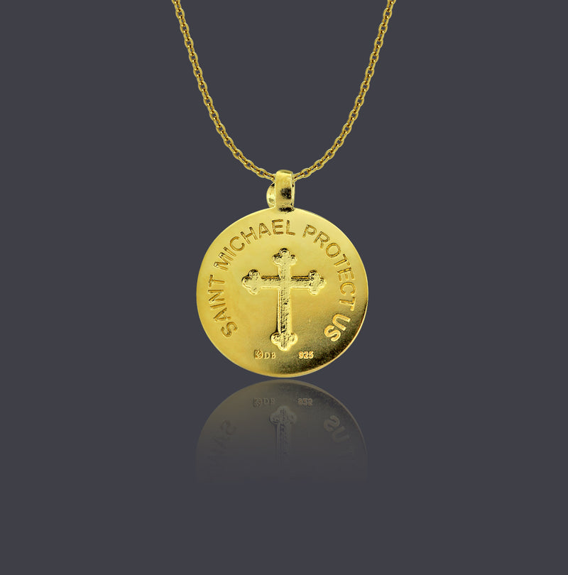 18K Gold Vermeil Saint Michael Round Necklace - Divine Box