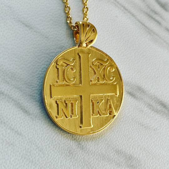18K Gold Vermeil Jesus Christ Conquers Necklace