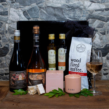 Gourmet Food, Wine & Coffee Lovers Hamper - Sparkling + Red