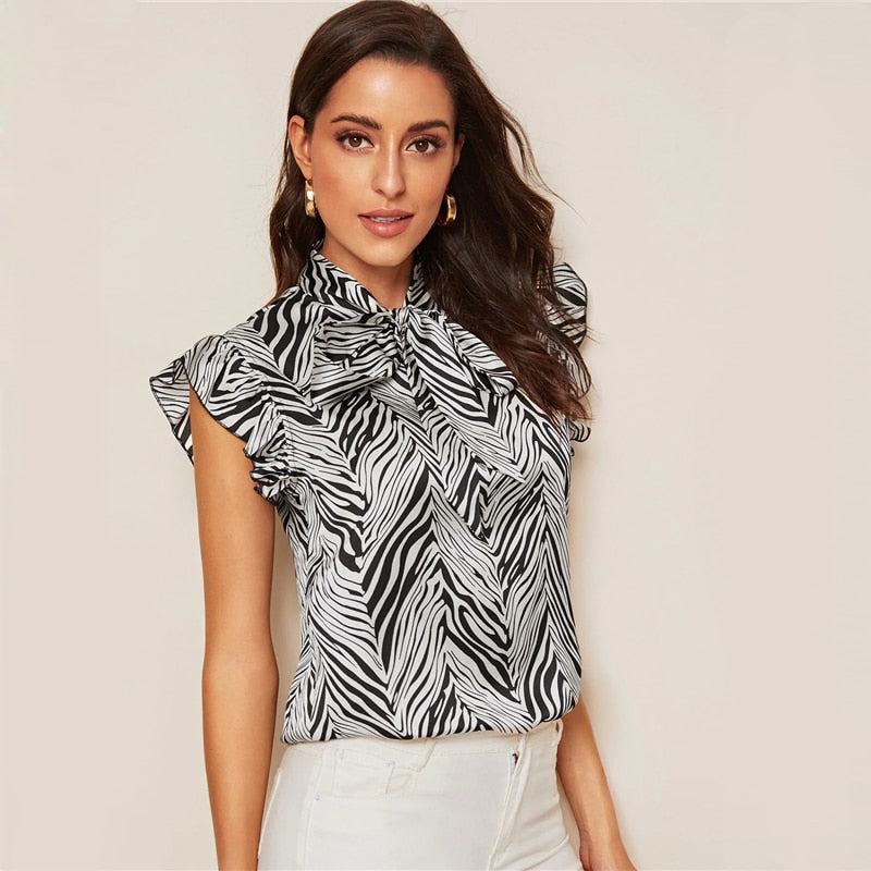 8eb36e465c ... Load image into Gallery viewer, Black and White Tie Neck Ruffle Armhole  Zebra Print Blouse ...
