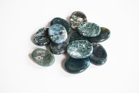 Green Moss Agate Crystal for Grief