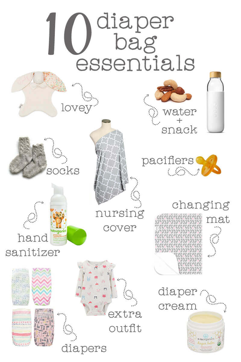 10 Diaper Bag Essentials - all the things you need to make sure that you have what you need when you're out and about with baby. ♥ Little Girl's Pearls #diaperbag #diaperbagessentials #whattoputinadiaperbag #perfectdiaperbag #diaperbagideas #littlegirlspearls