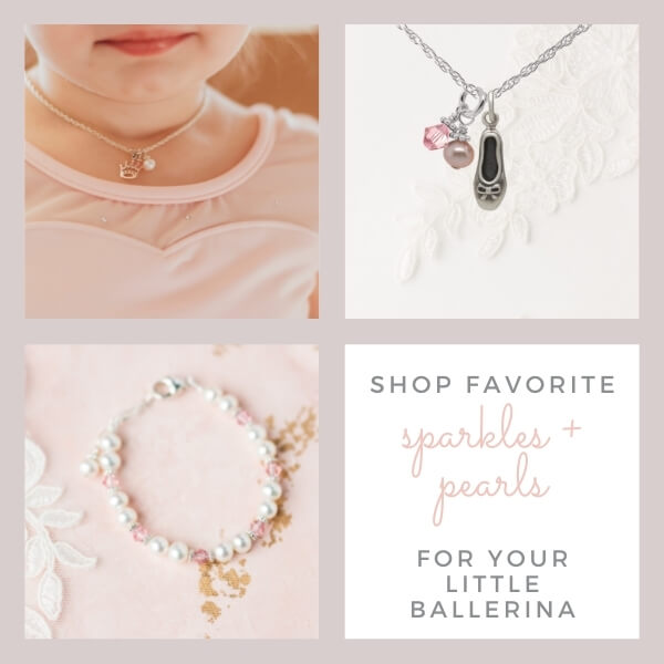 Ballerina pearl bracelets, toe shoe necklaces, and sparkly jewelry.