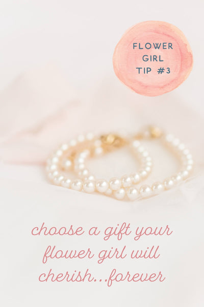 choose a gift your flower girl will cherish forever. Photo of beautiful matching bride and flower girl pearl bracelets.