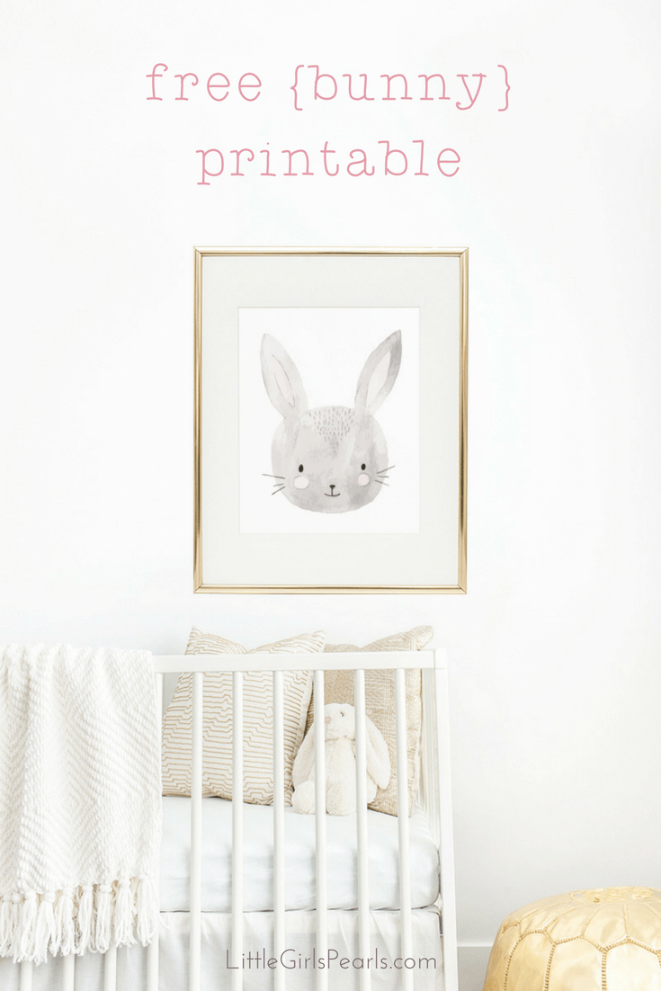There's nothing sweeter than little baby bunnies for decorating a nursery! Click here to print off this bunny or one of her other 3 buddies! https://shop-littlegirlspearls.myshopify.com/blogs/articles/animal-friends-free-printable-set/ <3 #littlegirlspearls #nursery #freeprintable