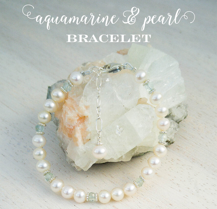 March birthstone aquamarine and pearl bracelet for girls