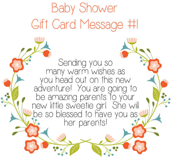 Baby SHower Gift Card Message #1 - Sending you so many warm wishes as you head out on this new adventure! You are going to be amazing parents to your new little sweetie girl. She will be so blessed to have you as her parents! | Little Girl's Pearls ♥