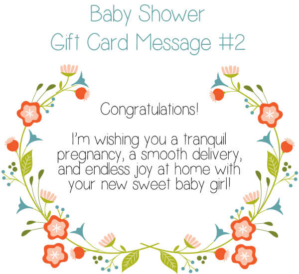 Baby Shower Gift Card Message #2 - Congratulations! I'm wishing you a tranquil pregnancy, a sooth delivery, and endless joy at home with your new sweet baby girl! | Little Girl's Pearls ♥