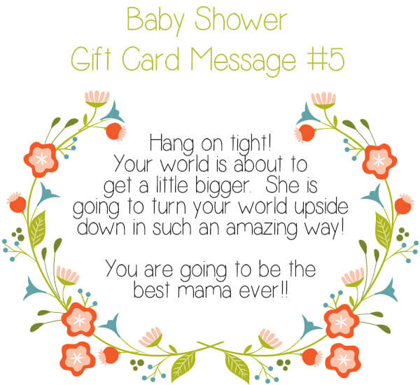 Baby Shower Gift Card Message Idea #5 - Hang on tight! Your world is about to get a little bigger. She is going to turn your world upside down in such an amazing way! You are going to be the best mama ever!! | Little Girl's Pearls ♥