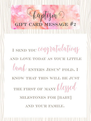 Baptism Gift Card Message Idea #2 - I send you congratulations and love today as your little lamb enters Jesus' fold. I know that this will be just the first of many blessed milestones for [baby] and your family. | Little Girl's Pearls ♥