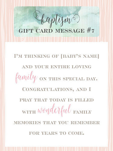 Baptism Gift Card Message Idea #7 - I'm thinking of [baby's name] and your entire loving family on this special day. Congratulations, and I pray that today provides you with wonderful memories for years to come. | Little Girl's Pearls ♥