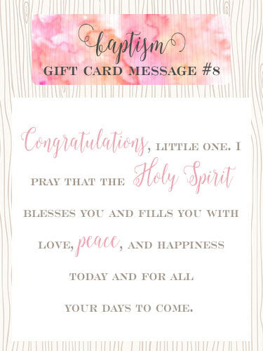 Baptism Gift Card Message Idea #8 - Congratulations, little one. I pray that the Holy Spirit blesses you and fills you with love, peace, and happiness today and for all your days to come. | Little Girl's Pearls ♥