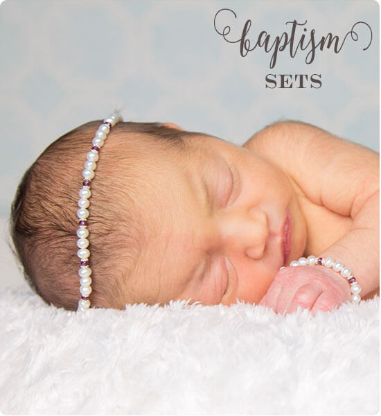 Pearl and Birthstone Baptism Jewelry Necklace and Bracelet Sets from Little Girl's Pearls ♥