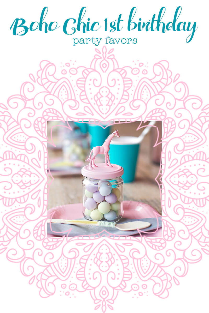 Boho Chic Birthday - Pastel Animal Jar Party Favors ♥ Little Girl's Pearls | #littlegirlspearls #pastelpartyfavors #pastelfavors #pastelparty #pastelbirthday #bohochic #firstbirthdayideas